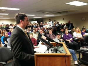 Justin Pitts runs a cannabis testing lab in Spokane and spoke in Olympia Jan. 23. SOURCE: KPLU